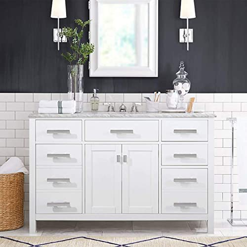 LUCA Kitchen Bath LC48PWW Tuscan 48 Single Bathroom Vanity Set in Pure White with Carrara Marble Top and Sink