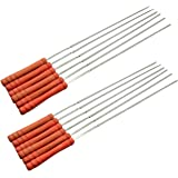 Fasmov Barbecue Skewers Set/ Stainless Steel Wide BBQ Kabob Sticks/ Grilling Skewers,Wooden Handle to Protect Your Hands,Set of 12