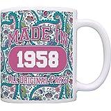 60th Birthday Gift Made 1958 Paisley Birthday Mug Decorations Gift Coffee Mug Tea Cup Paisley