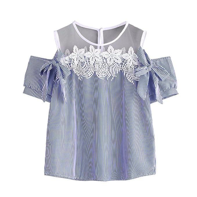 Ropa Camisetas Mujer, Camisas Mujer Verano Elegantes Encaje Tallas Grandes Camisetas Mujer Manga Corta Camiseta