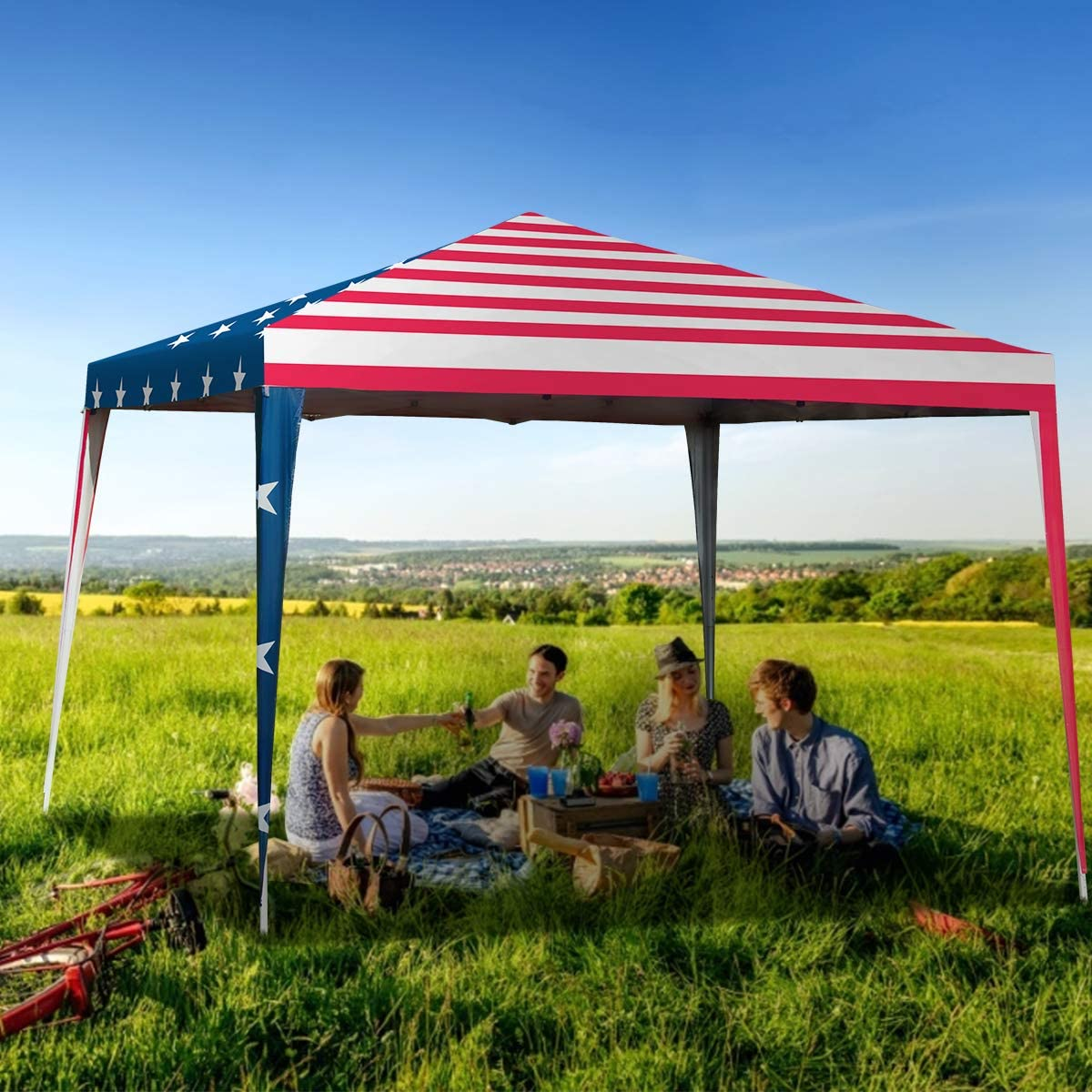 Tangkula Outdoor 10 X 10 Pop-Up Canopy Tent, Party Tent with Removable Mesh Side Walls, Waterproof Canopy Tent for Wedding Exhibition Patio BBQ, Folding Gazebo with Carry Bag, American Flag Printing