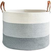 "chloé+kai Woven Storage Basket,20""x13"" Extra Large Cotton Rope Basket,Laundry and Blanket Basket,Decorative Basket for…"