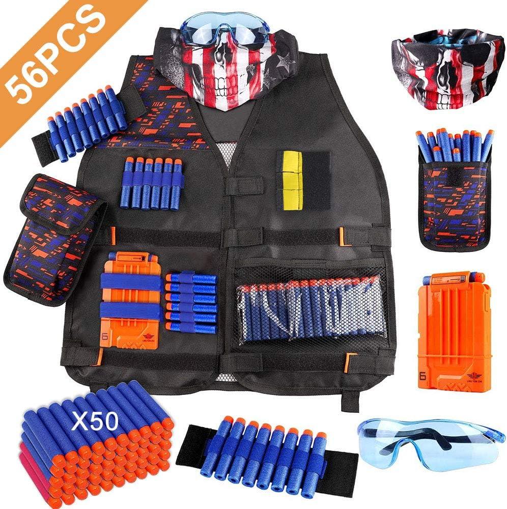 OFUN Táctico para Niños 56pcs, Chaleco táctico para niños para Pistolas Nerf N-Strike Elite + 50 Dardos + 1 máscara + 1 Protección Gafas + 1 Clips de liberación rápida + 1 Pulsera + 1 Bolsa de Dardos