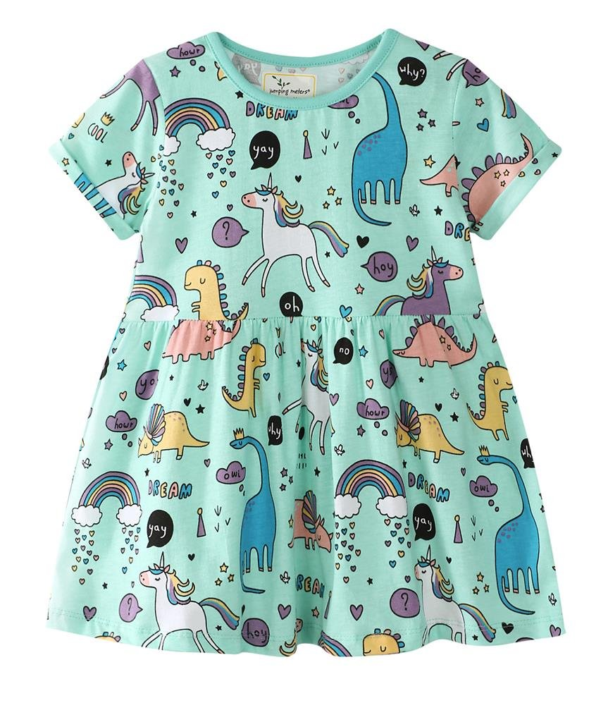 Little Girls Short Sleeve Dinosaur & Unicorn Print Cotton Dress(2-3 Years,Blue)