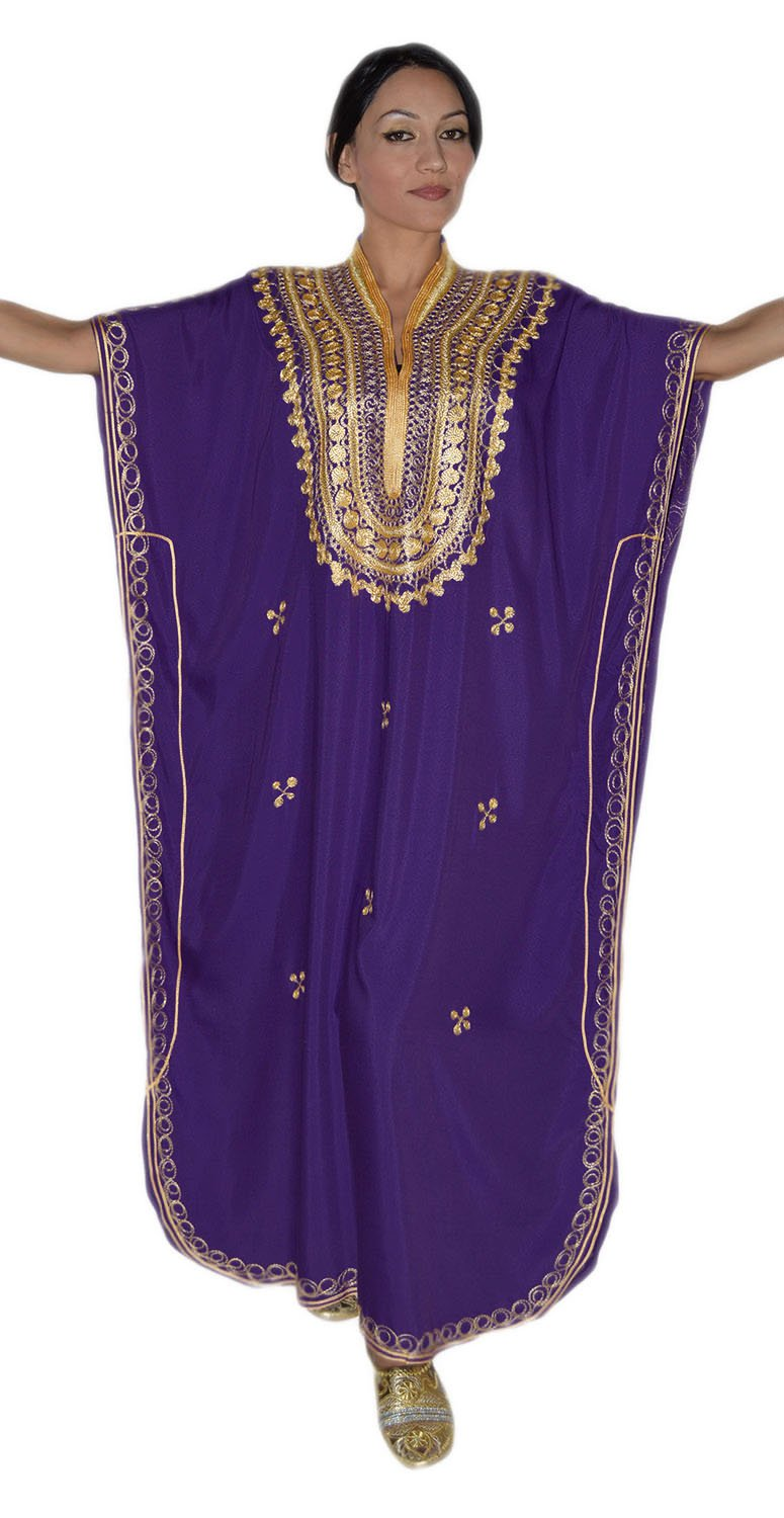 Moroccan Caftan Hand Made Top Quality Breathable Cotton with Gold Hand Embroidery Long Length Purple by Moroccan Caftans (Image #1)