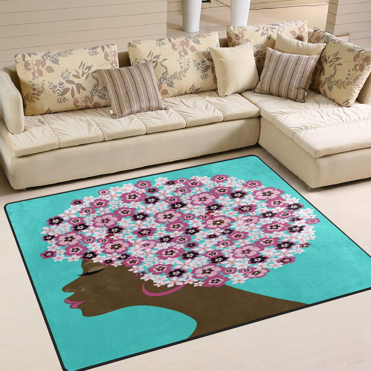 ALAZA American Beauty Woman with Spring Decorated Indoor Modern Area Rug 4' x 5', Dining Room Home Bedroom Carpet Floor Mat Nursery Rug Room Mat