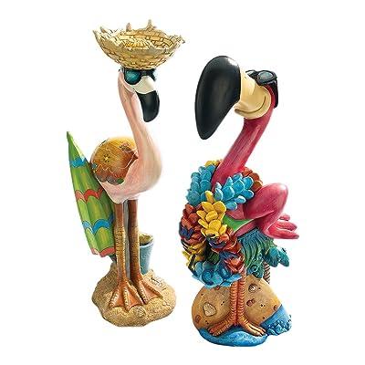 Design Toscano Pink Flamingo Garden Statues Luau Larry and Flamingo Frank, Multicolored : Garden & Outdoor