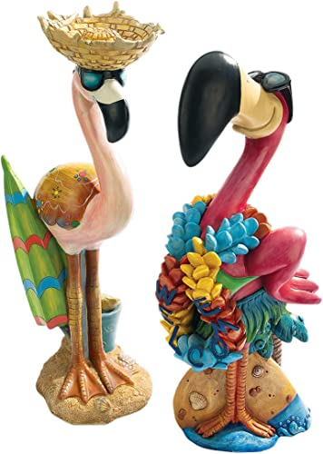 Design Toscano Pink Flamingo Garden Statues Luau Larry and Flamingo Frank
