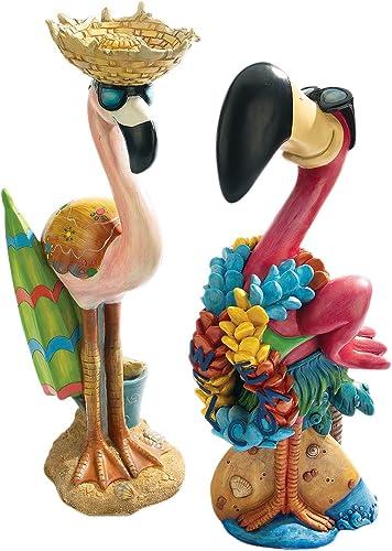 Design Toscano Pink Flamingo Garden Statues Luau Larry and Flamingo Frank