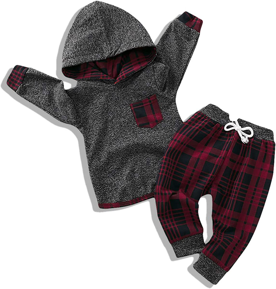 Toddler Infant Baby Boy Clothes Outfit Plaid Long Sleeve Hoodie Sweatshirt Pants Fall Winter Clothes Set for Baby Boy: Clothing
