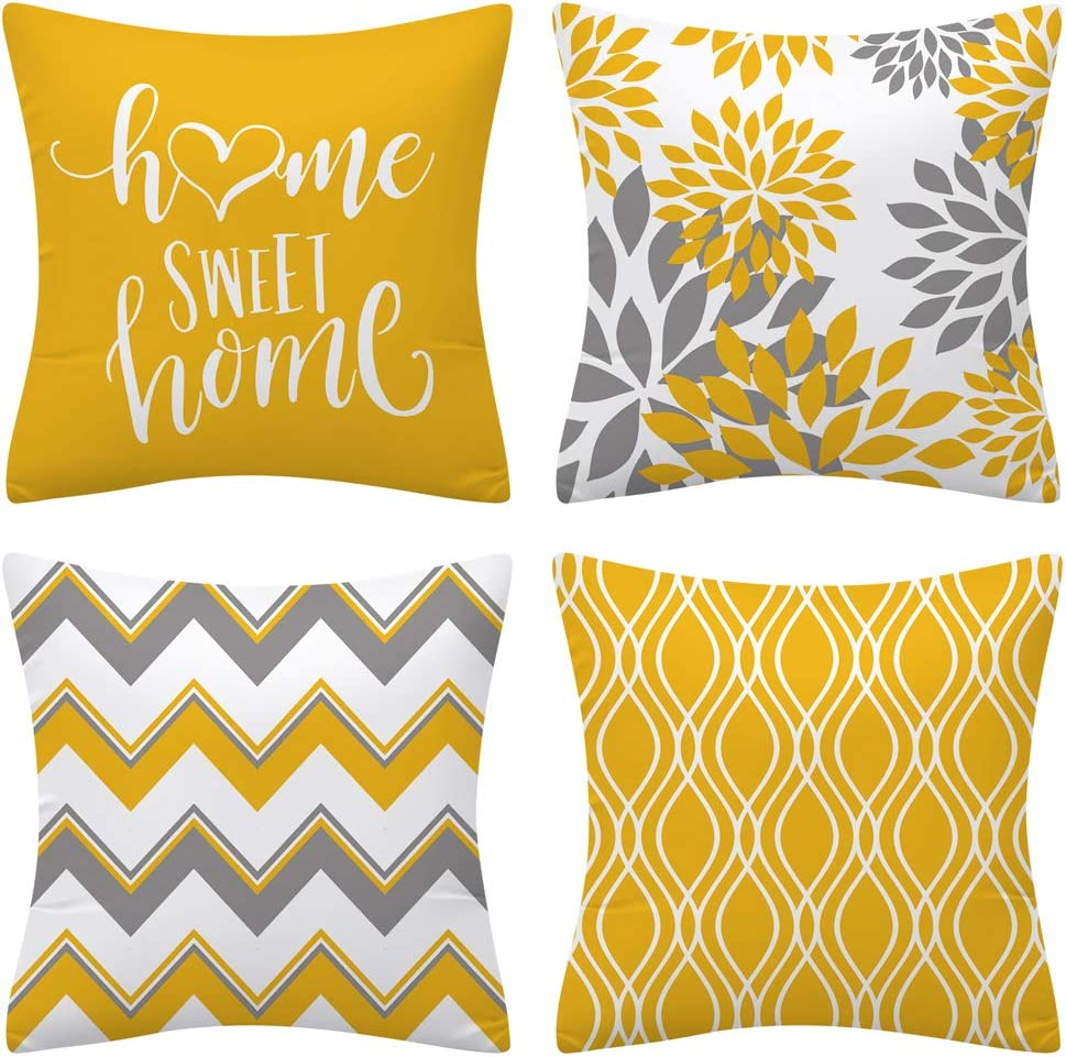 Drmstow Yellow Pillow Covers 18x18 Set of 4 Modern Decorative Geometric Outdoor Sofa Throw Pillow Cushion Covers Case for Couch Living Room Bedroom Patio Furniture Indoors Home Decor…