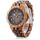 BEWELL ZS w116 C legno orologio da uomo al quarzo data giorni Display Chiesa quadrante orologio orologio da polso (Marrone)