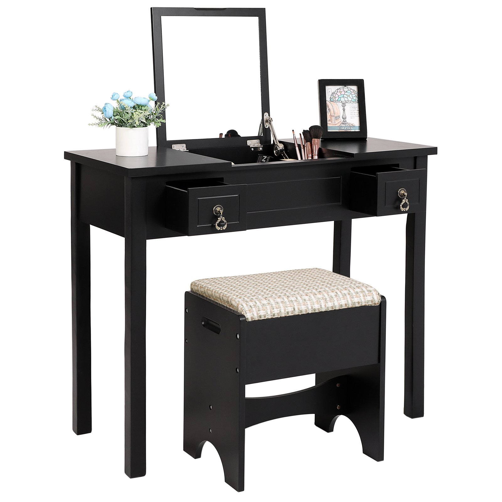 SONGMICS Vanity Set with Flip Top Mirror Cushioned Stool Makeup Dressing Table 2 Drawers 3 Removable Organizers Black URDT01B