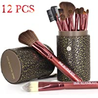 BMK Makeup Brush Set Blending Cosmetics Brush Tools for Face Powder Foundation Eyeshadow Eyebrow Blush Lip Concealer Brushes Kit With Cleaning Egg and Travel Case(12Pcs)