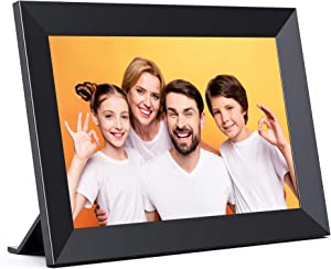 JEEMAK Digital Picture Frame 10.1 Inch IPS Touch Screen HD Display with 16GB Storage Easy to Share Photos and Video Remotely Via WiFi and Free App