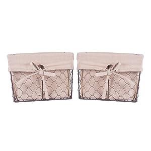 DII Vintage Chicken Wire Basket for Storage Removable Fabric Liner, Medium, Natural, 2 Piece