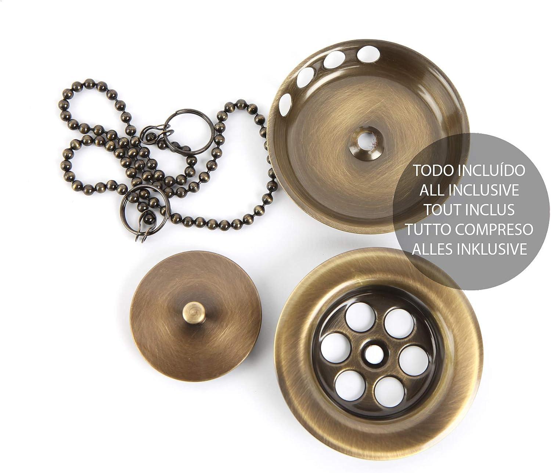 Kibath 385033 Válvula de Desagüe bañera universal compatible con la mayoría de lavabos fabricada en latón, Cromo brillo