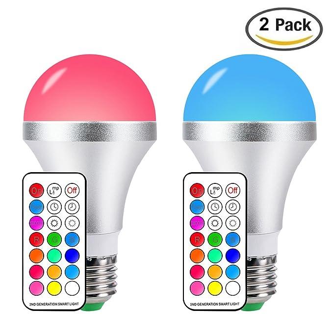 87 opinioni per RGBW lampada bulbo E27 a led con telecomando per cambiare 16 colorazioni, 10W