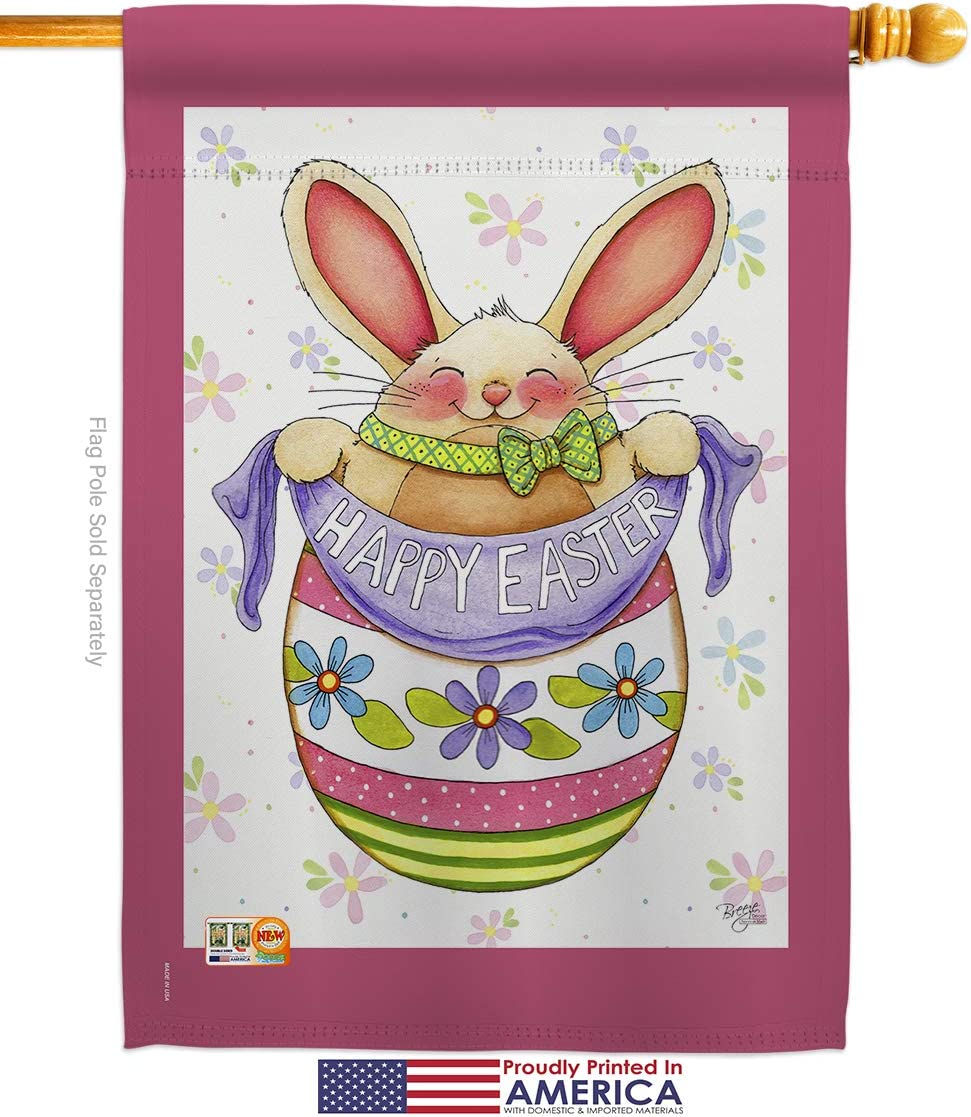 Breeze Decor Easter Egg Bunny Garden House Flags Kit Spring Happy Christian Season Springtime Holiday Small Decorative Gift Yard Banner Made In Usa 28 X 40 Garden Outdoor