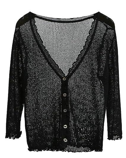 455a322855 Fulok Womens Button Down V-Neck Long Sleeve Soft Thin Knit Cardigan Black  One-