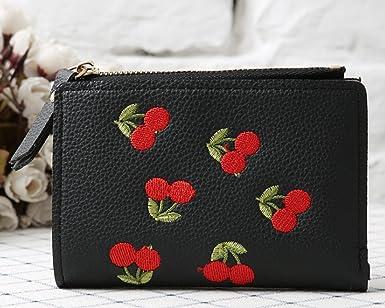 Amazon.com: yunee Cherry bordado corto billetera simple moda ...