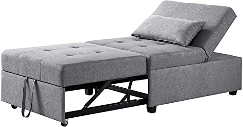 Powell Furniture Boone Convertible Sofa Bed Sofabed, 31.125 L x 43.75 W x 17.875 H, Gray