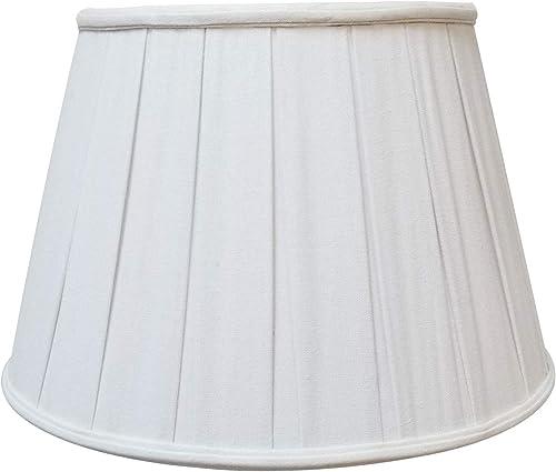 Royal Designs DBS-724-18LNWH Series Empire English Pleat Basic Lamp Shade, Linen White, 11 x 18 x 12