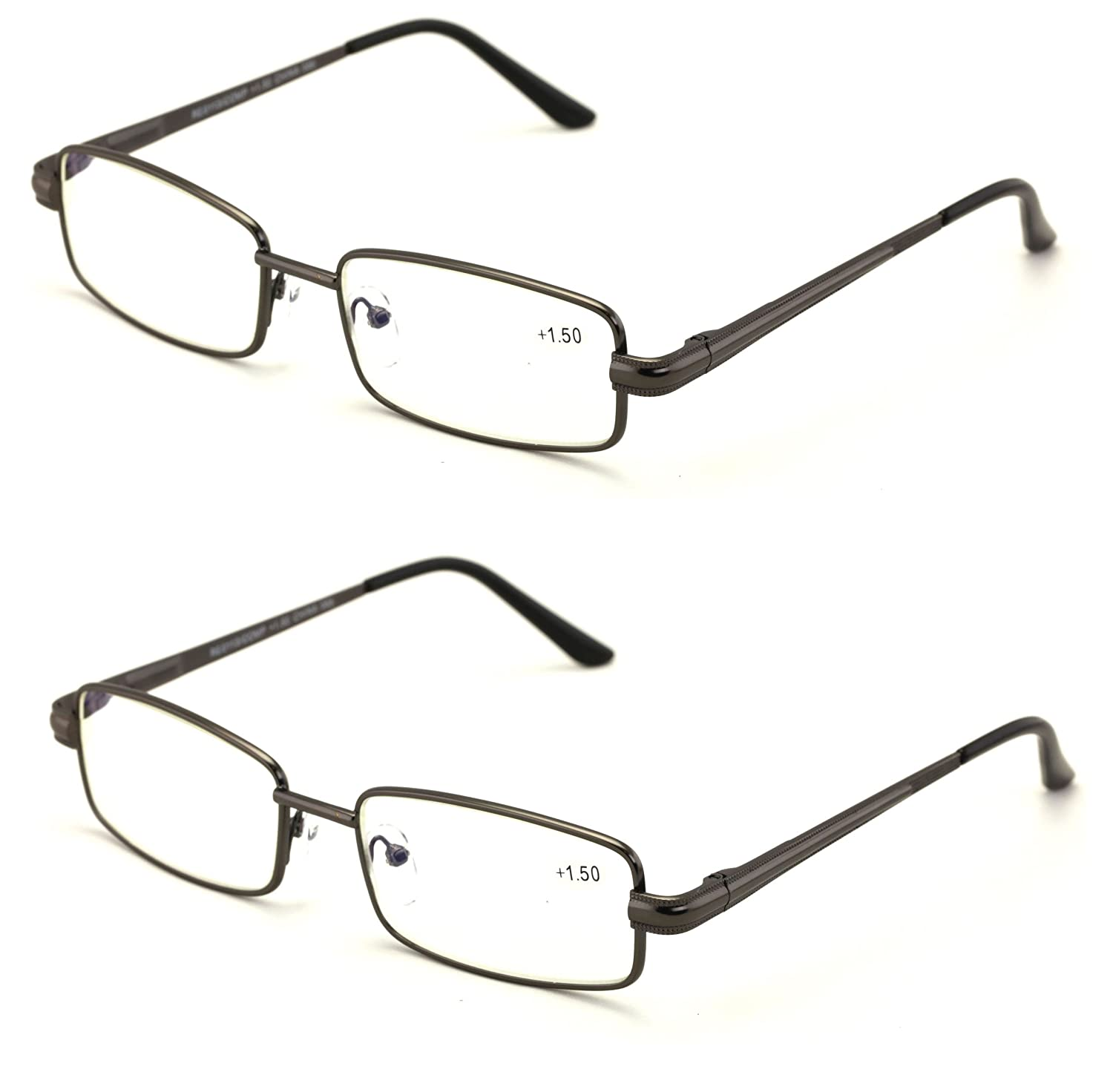 3b363253742 Amazon.com  Men Metal Rectangle Reading Glasses - Blue AR Coating - Reduce  fatigue