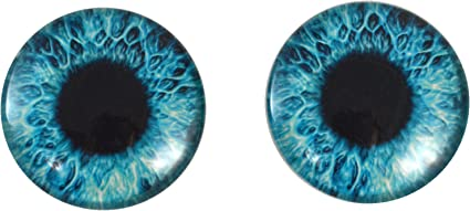 Blue Human Glass Eyes 40mm Glass Eyes Handmade in USA