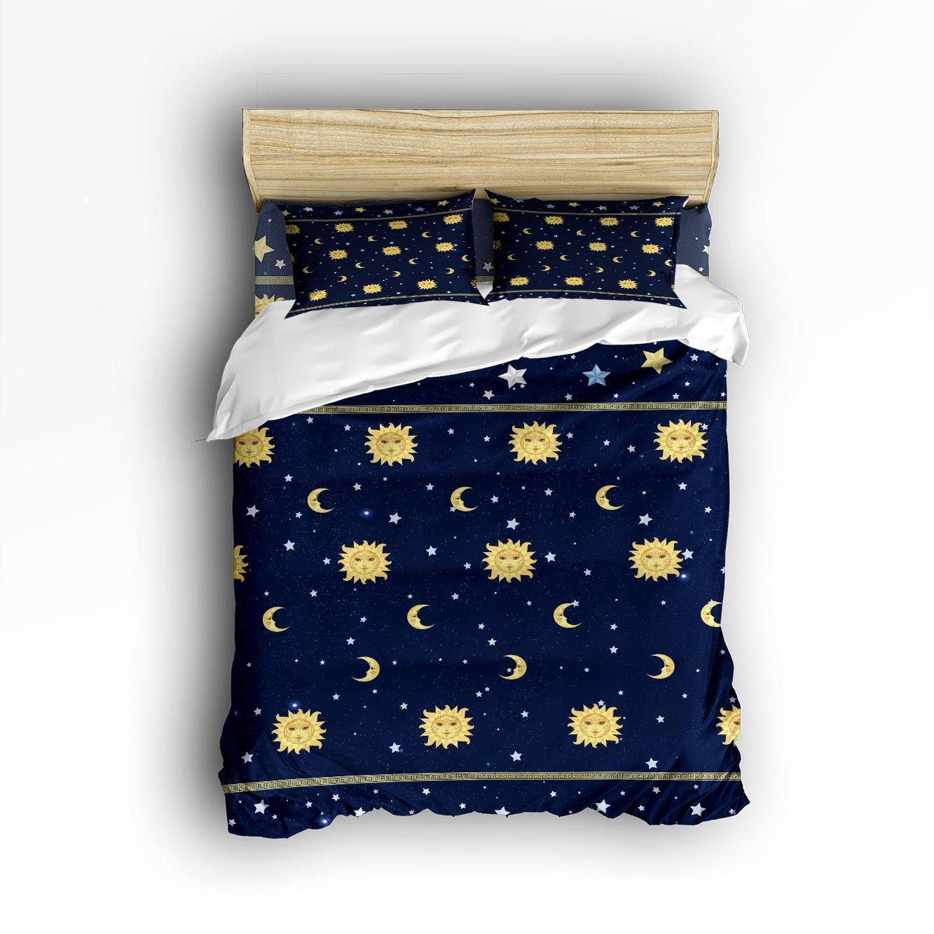 Libaoge 4 Piece Bed Sheets Set, Sunshine Hippie Mandala Pattern Sun Moon Stars Print, 1 Flat Sheet 1 Duvet Cover and 2 Pillow Cases