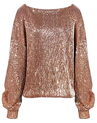 bc47cbd3 Lutratocro Women Long Sleeve Sequins Scoop Neck Casual Top Pullover  Sweatshirts at Amazon Women's Clothing store: