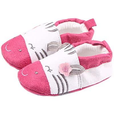 Bettyhome Cotton Unisex Baby Newborn Rose Cat Pattern Soft Sole Infant Toddler Prewalker Sneakers (0-1 Year)