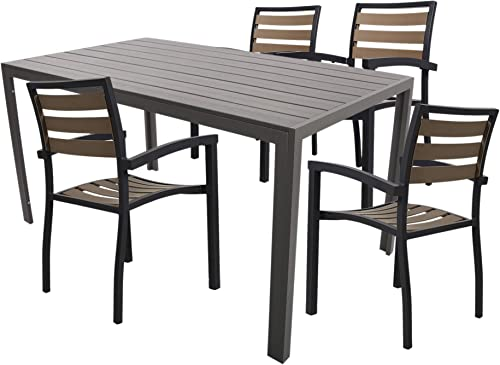 Dporticus 5 Piece Set of Garden Table and Chair Dining Combination Furniture Set Including 4 Stackable Chairs and an Aluminum Imitation Wooden Table