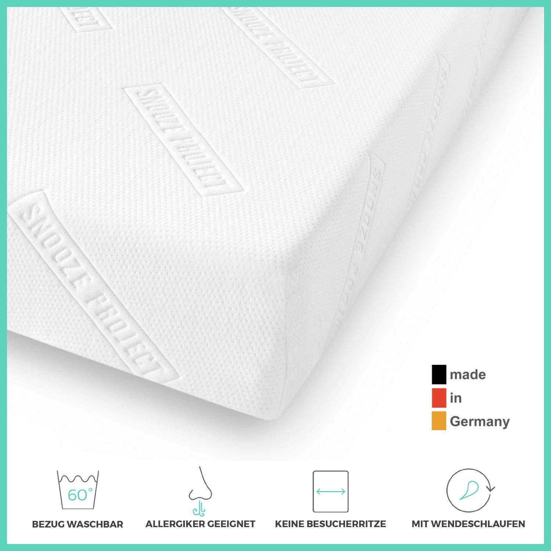 Snooze Project Essential Matratze 70 x 220 cm - Härtegrad H2 H3 Mittel-Hart - Kaltschaum RG 30 Schaumstoff - Allergiker-geeignet und Öko-Tex 100 zertifiziert - 100 Tage Probeschlafen
