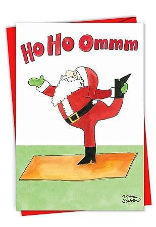 1885 Santa Yoga - Funny Merry Christmas Greeting Card with 5