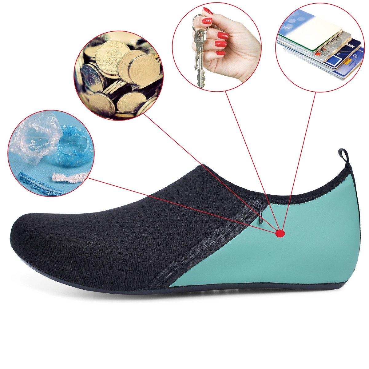 JIASUQI Mens Beach Walking Sandals Water Shoes for Pool Swim Zip Green US 7.5-8.5 Women, 6.5-7.5 Men by JIASUQI (Image #7)