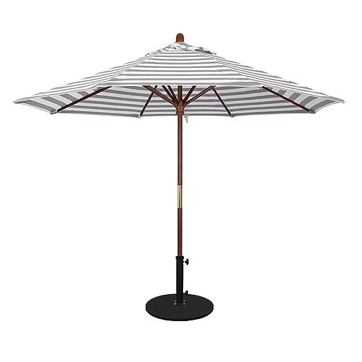 California Umbrella Paraguas Redondo de 9 pies con Marco de Madera ...