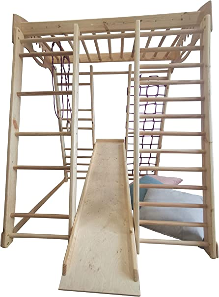 SportBaby Centro de Actividades con tobogán ˝Akvarelka-Lak˝, Red de Escalada, Anillos, Escalera Sueco, Campo de Juego Infantil, Juguetes: Amazon.es: Deportes y aire libre