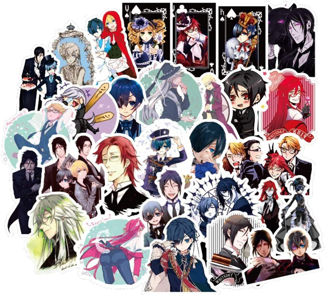 Black Butler Stickers for Laptop Computer Water Bottles 50pcs