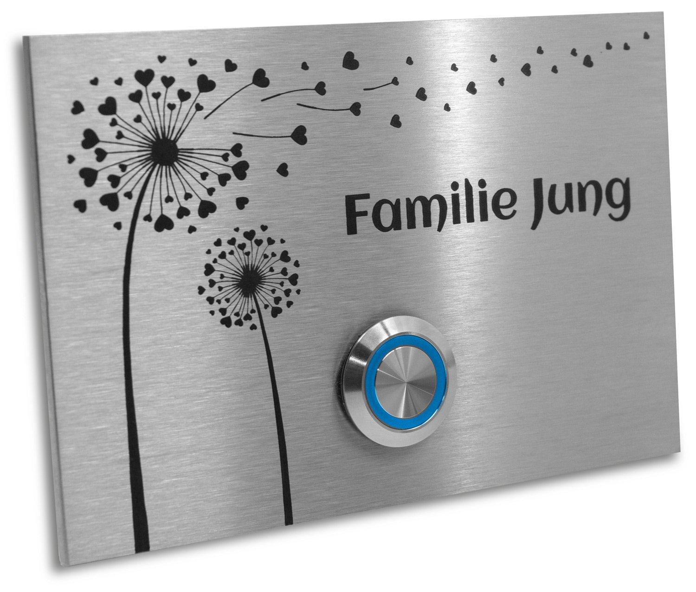 Jung-Edelstahl-Design Tü rklingel mit Gravur'Pusteblume'. Klingelplatte 12x8 cm. Led Taster weiss. Klingelschild V2a Edelstahl.