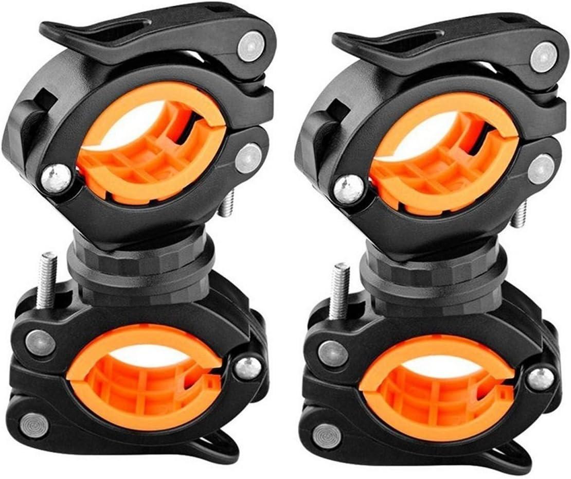 VGEBY Clip de Linterna de Bicicleta 360 Grados Soporte de Linterna de Bicicleta giratoria Soporte Fijo de luz Delantera de Bicicleta