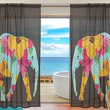 Sheer Voile Rideau de fenêtre Motif floral style Element d\'éléphant ...