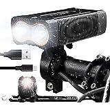 Victagen USB Rechargeable Bike Light, Super Bright Bike Headlight 2400 Lumens and Back Rear Light, Waterproof Bicycle Headlig