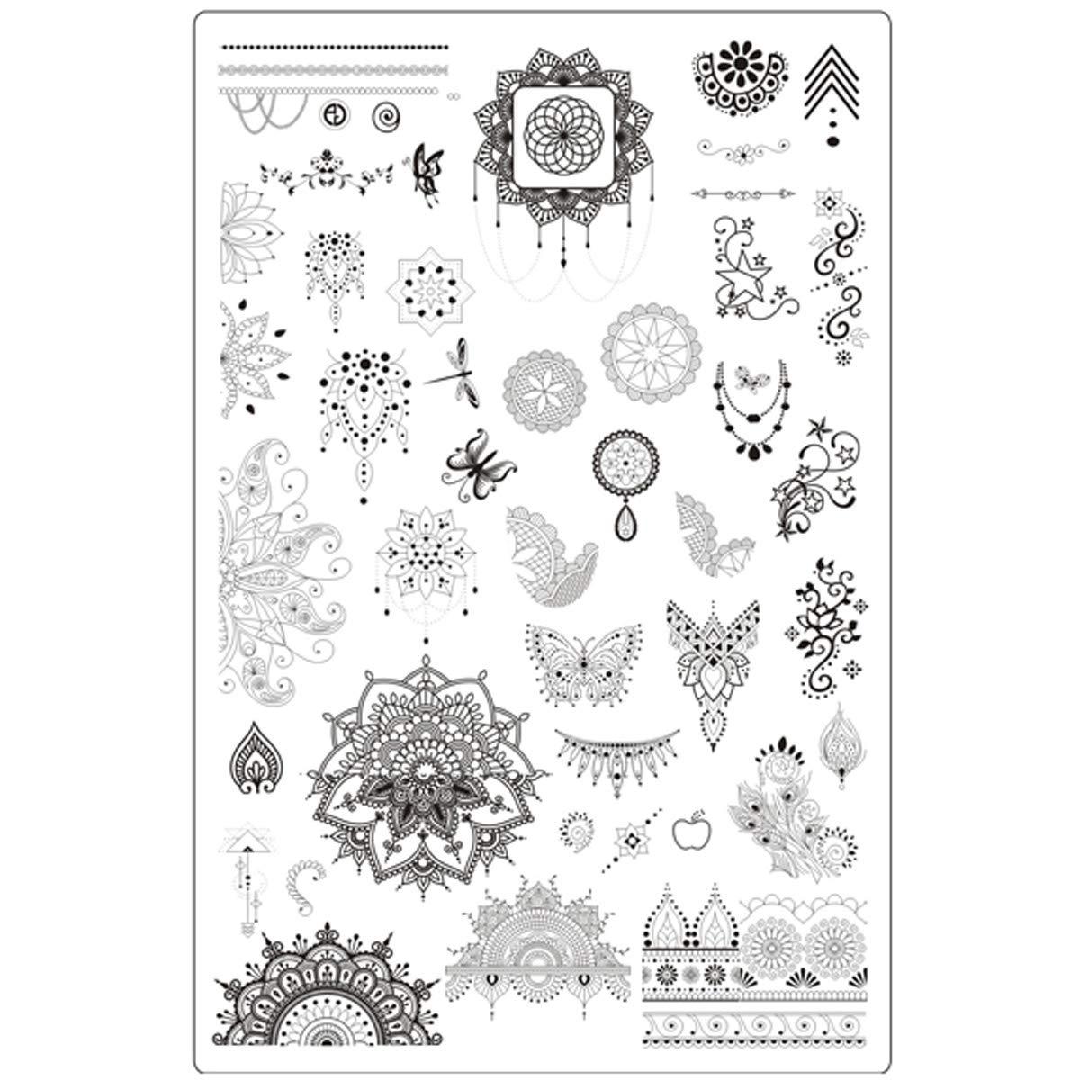 Lovenails Mandala Stamping Schablone 2 I feine Stempel Motive mit Ornamenten und ausgefallenen Mustern