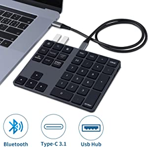 Rechargeable-Bluetooth-Numeric-Keypad, Cofuture Wireless Number Pad with USB 3.0 Hub Slim 34-Keys External Numpad Keyboard Data Entry for MacBook, MacBook Air/Pro, iMac Windows Laptop Surface Pro etc