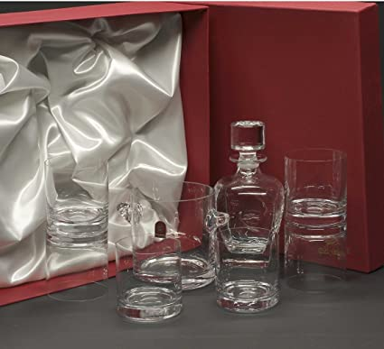 Set/Estuche de 6 Vasos Bajos de Cristal para Whisky o Agua + Cubo de