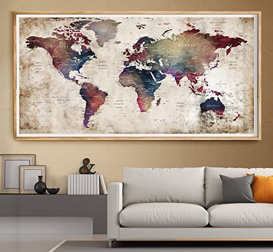 Amazon wall art prints watercolor world map painting poster wall art prints watercolor world map painting poster large art travel map of the world gumiabroncs Gallery