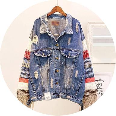a8b84b5497c Spring Autumn Wool Knitting Stitching Long Sleeves Denim Jacket Holes Loose  Jeans Coat at Amazon Women's Coats Shop