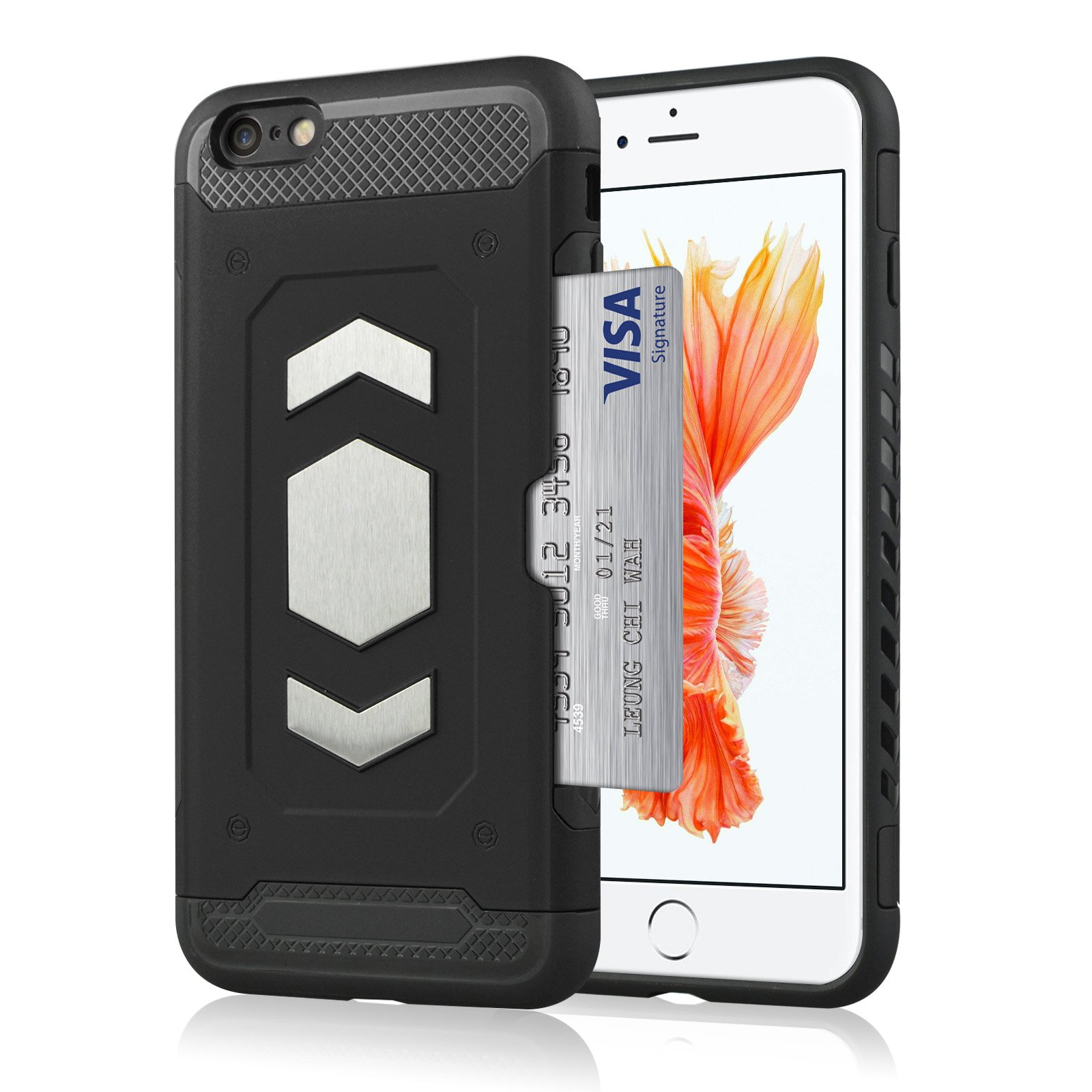 i Phone 7 Wallet Case, Slim Armor Shockproof Heavy Duty Protection Dual Layer TPU&PC Hybrid Case Cover with Card Slot Car Mount Holder Thin Case for i Phone 8 (1, iPhone 8) by 22miter