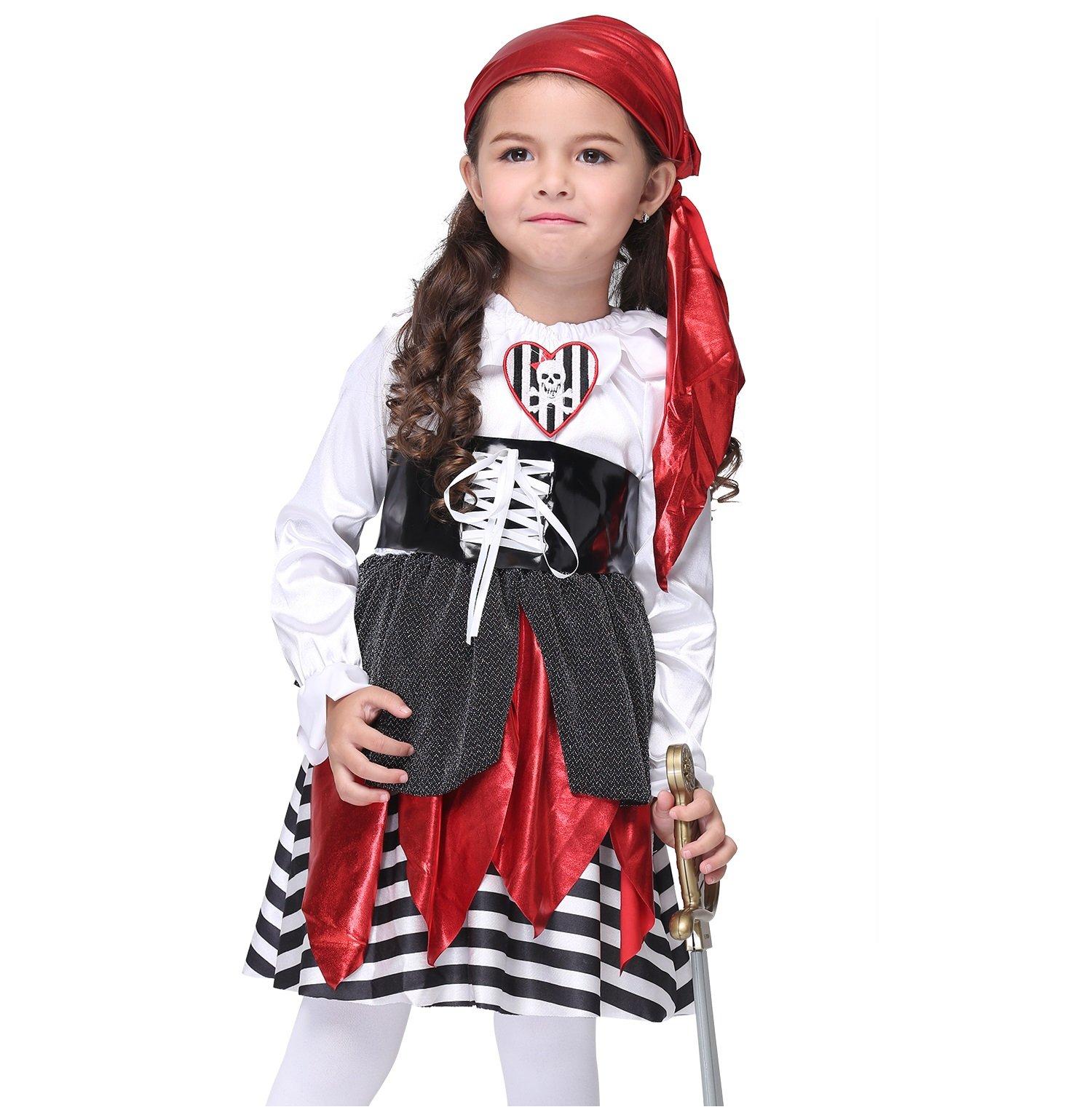 Girl's Halloween Pirate Cartoon Cosplay Costume Suit Children's Wear Dancing Dress (Medium)